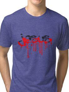 blut kratzer risse graffiti tropfen tattoo schriftzug christ cool logo design text jesus christus  Tri-blend T-Shirt
