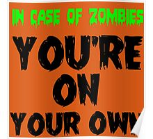 IN THE CASE OF ZOMBIES YOU'RE ON YOUR OWN Poster