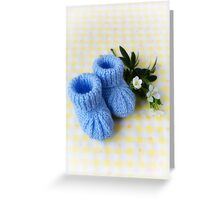 Baby Booties - Blue 3 Greeting Card