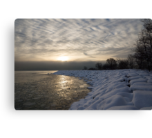 Cold, Moody and Fabulous - a Winter Morning on the Lake Shore Canvas Print
