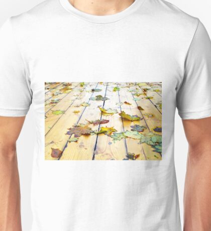 Closeup view on a wet green and yellow leaves Unisex T-Shirt