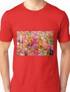 Background of vivid red and yellow autumn leaves Unisex T-Shirt