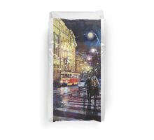Prague Masarykovo Nabrezi Evening Walk Duvet Cover