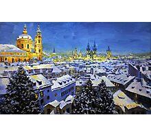 Prague After Snow Fall Photographic Print