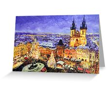 Prague Old Town Square Christmas market Greeting Card