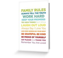 Family Rules Greeting Card