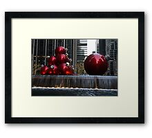 A Christmas Card from New York City - Manhattan Skyline Reflecting in Giant Red Balls Framed Print