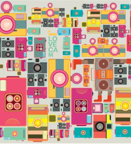 VIntage camera pattern wallpaper design Sticker