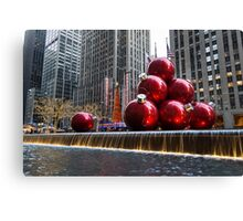 A Christmas Card from New York City – Radio City Music Hall and the Giant Red Balls Canvas Print
