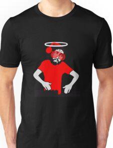 auflegen dj party brille kopfhörer musik tanzen feiern jesus dornen krone blut tot kreuz mord tropfen graffiti cool design sünde gestorben  Unisex T-Shirt