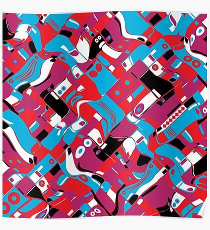 random blocks wave pattern Poster