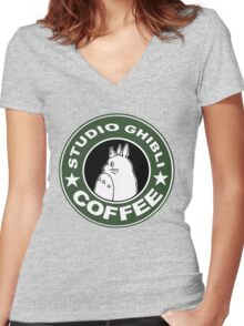 COFFEE: STUDIO GHIBLI Women's Fitted V-Neck T-Shirt