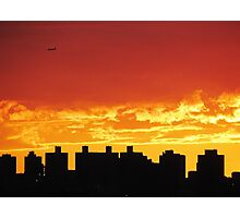 Firey skies over New York City  Photographic Print