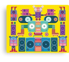 funny and cute vector boombox face pattern Canvas Print