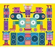 funny and cute vector boombox face pattern Photographic Print
