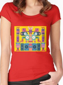 funny and cute vector boombox face pattern Women's Fitted Scoop T-Shirt