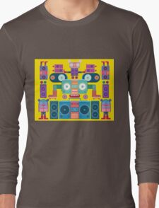 funny and cute vector boombox face pattern Long Sleeve T-Shirt