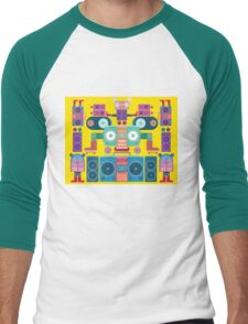 funny and cute vector boombox face pattern Men's Baseball ¾ T-Shirt