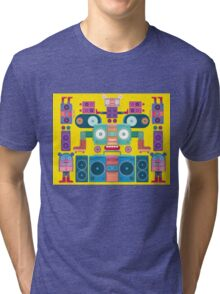 funny and cute vector boombox face pattern Tri-blend T-Shirt