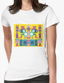 funny and cute vector boombox face pattern Womens Fitted T-Shirt