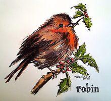 Christmas Robin. Elizabeth Moore Golding 2014© by Elizabeth Moore Golding