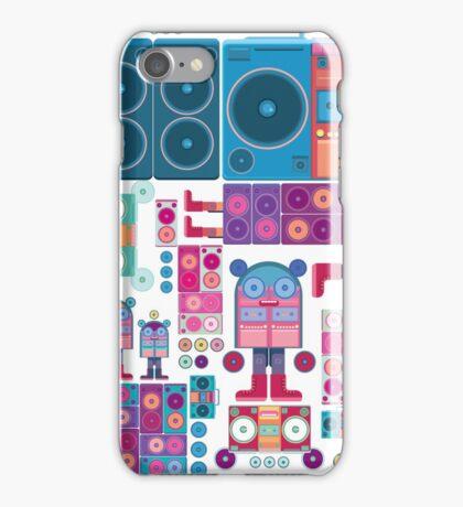 robot boom box tape music vector pattern iPhone Case/Skin