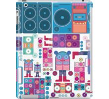 robot boom box tape music vector pattern iPad Case/Skin