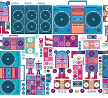 robot boom box tape music vector pattern by singpentinkhepi