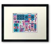 robot boom box tape music vector pattern Framed Print