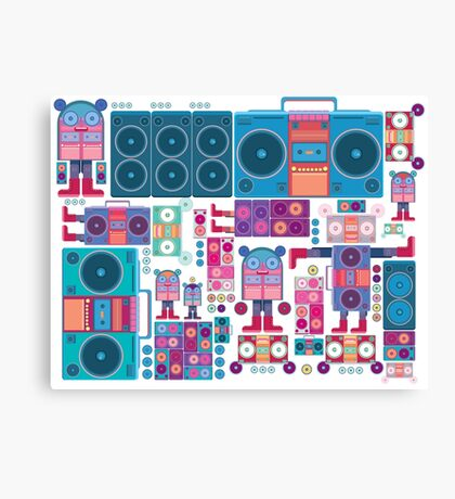 robot boom box tape music vector pattern Canvas Print