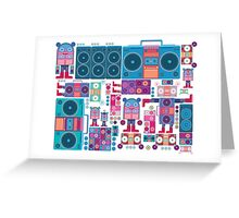 robot boom box tape music vector pattern Greeting Card