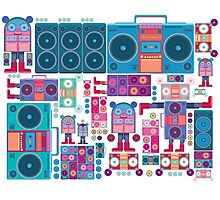 robot boom box tape music vector pattern Photographic Print