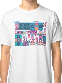 robot boom box tape music vector pattern Classic T-Shirt