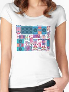 robot boom box tape music vector pattern Women's Fitted Scoop T-Shirt