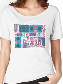 robot boom box tape music vector pattern Women's Relaxed Fit T-Shirt