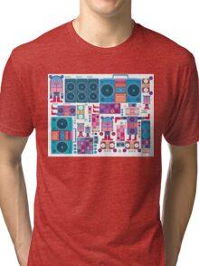 robot boom box tape music vector pattern Tri-blend T-Shirt