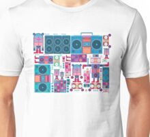 robot boom box tape music vector pattern Unisex T-Shirt