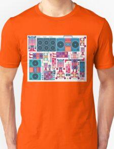 robot boom box tape music vector pattern T-Shirt