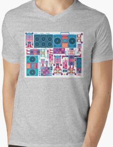 robot boom box tape music vector pattern Mens V-Neck T-Shirt