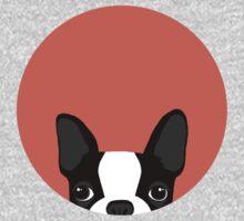 Boston Terrier Peek - Black on Coral Kids Clothes