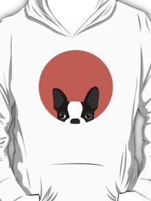 Boston Terrier Peek - Black on Coral T-Shirt