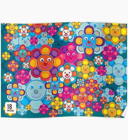 fun flower colorful pattern Poster