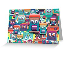 pattern face expression colorful Greeting Card