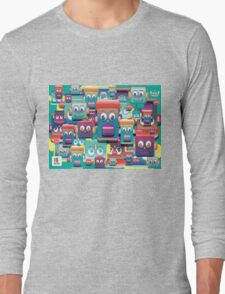 pattern face expression colorful Long Sleeve T-Shirt
