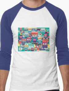 pattern face expression colorful Men's Baseball ¾ T-Shirt
