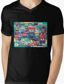 pattern face expression colorful Mens V-Neck T-Shirt