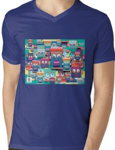 pattern face expression colorful Mens V-Neck T-Shirt