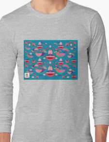 Cute colorful bird pattern vector Long Sleeve T-Shirt