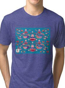 Cute colorful bird pattern vector Tri-blend T-Shirt