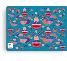 Cute colorful bird pattern vector Canvas Print